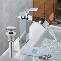 Waterfall Bathroom Basin Faucet Vessel Sink Mixer Tap Solid Brass Drain Plate