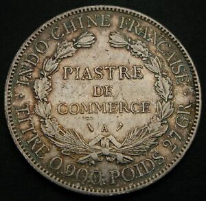 FRENCH INDO CHINA 1 Piastre 1908 A - Silver - VF - 1564