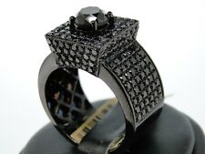 New Mens 10K Black Gold With Aaa Vs Black Diamond Solitaire  Pinky Ring 6.50 Ct