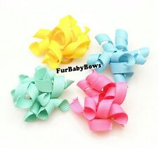 10 CUTE Korkie Curly YORKIE Puppy dog grooming Bows w/Barrettes  Maltese Biewer