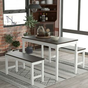 Pine Wood Dining Table and Chairs Set of 2 bench Kitchen Furniture