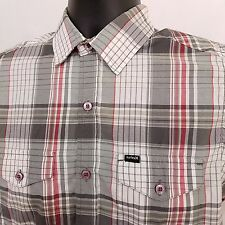 HURLEY Short Sleeve Shirt Men's Size Small Red Gray Cotton Plaid Checks