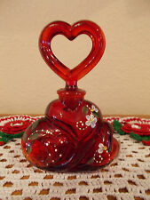 FENTON HAND PAINTED RUBY RED HEART PERFUME BOTTLE *QVC*