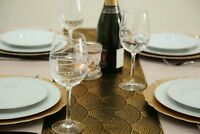 Gold & Black Fabric Table Runner 2.5 Meters Long Elegant (8ft Length)