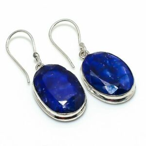 "Burmese Sapphire Gemstone Gift 925 Sterling Silver Jewelry Earring 1.65 "" a233"