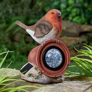 Solar Powered LED Robin Rock Stone Light Decorative Garden Bird Gnome Ornament