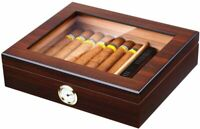 Handmade Cedar Wooden Cigar Box Storage Case with Humidifier and Hygrometer