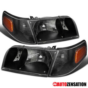 For Ford 1998-2011 Crown Victoria Black Headlights+Corner Signal Lamp Left+Right
