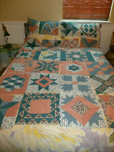 Gorgeous 24 Done Hand Stitch Quilt Blocks All Different Applique Patchwork ++