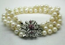 Beautiful Vintage 3 Strand Pearl Bracelet 18 Carat White Gold And Ruby Clasp