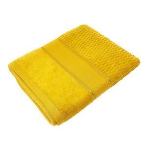 4 X LUXURY STRIPED COTTON VELVET LOOK FEEL OCHRE YELLOW GOLD BATH SHEET TOWEL