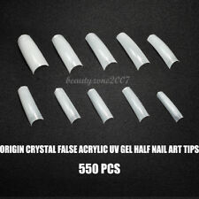 Crystal Natural False Acrylic UV Gel Half Nail Tips 550 PCS