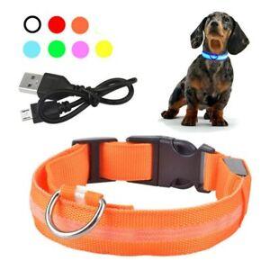 LED Dog Collar Nylon Rechargeable Flashing Luminous Adjustable Safety Light Tag