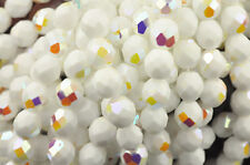 50 White AB Fire Polished Faceted Round Czech Glass Beads 8MM