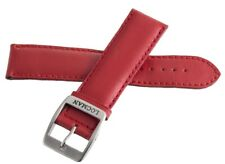 LOCMAN Men's 22mm x 20mm Red Leather Silver Buckle Watch Band Strap