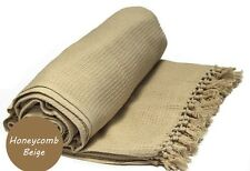 Beige Honeycomb WAFFLE 100% Cotton SOFA / SETTEE / BED Throw + Tasselled Edging