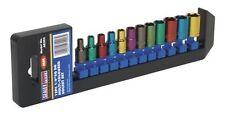 """Sealey Multi-Coloured Socket Set 12pc 1/4""""Sq Drive 6pt WallDrive® Metric AK282"""
