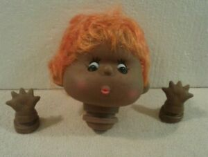 "Darice 4"" doll head with hands & orange hair African American CUTE - NEW"