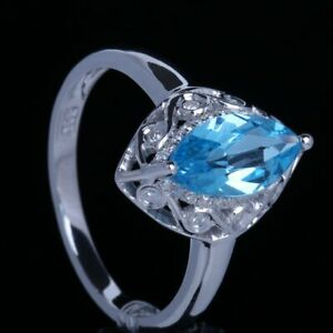 5X10mm Marquise Blue Topaz Solid 14K White Gold Diamond Wedding Anniversary Ring