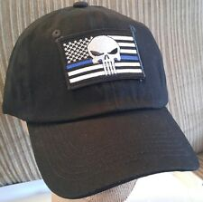 Punisher Flag BLUE LINE Baseball Cap Police U.S.A. Flag Blue Lives Matter Hat