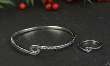NEW STYLE AMETHYST .925 SOLID STERLING SILVER BANGLE BRACELET & RING SIZE 7.5