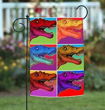 New Toland - Neon Dinosaur - Colorful Tyrannosaurus Pop Art T-Rex Garden Flag