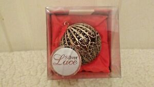 Silver Lace Fine Filigree with Crystal Jewel Stones Round Ornament Ball in Box