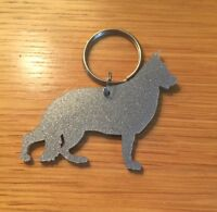German Shepherd Dog GSD Keyring Keychain Bag Charm Gift In Silver With Gift Bag