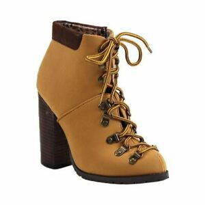 Luichiny Anna may IMI Suede Lug Sole Lace Up Combat Stacked heel Ankle Booties