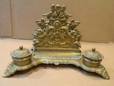 Victorian Bronze or Brass Double Inkwell, Letter Holder, Pen Tray, 3 Cherubs