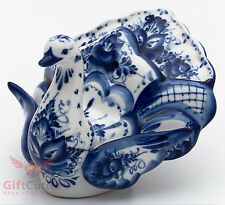 Porcelain Gzhel NAPKIN HOLDER Bird Swan figurine handmade in Russia
