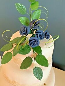 WEDDING CAKE NAVY BLUE ROSES TOP SPRAY CRAFTED IN SUGAR,  PRICED TO CLEAR