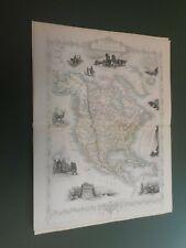 100% ORIGINAL NORTH AMERICA MAP BY TALLIS C1858 VGC ORIGINAL COLOUR