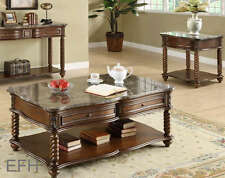 NEW 3PC LOCKWOOD MARBLE TOPS BROWN MAHOGANY FINISH WOOD COFFEE END TABLE SET