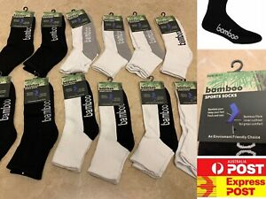 12 Pairs Quality Bamboo Sports Crew Socks Special tennis , AU Stock Express Post