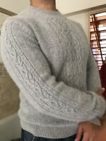 Angora lambswool Jumper sweater grey Chunky cable Knit knitted Fluffy