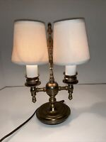 Vintage Brass Double Shade Table Desk Lamp Tower Craftsmen Incorporated N.J.