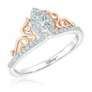 Enchanted Disney Princess Tiara Pear Diamond Jewelry Engagement Ring 925 Silver