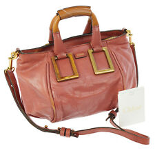 Authentic Chloé Logos Ethel 2way Hand Bag Pink Leather Hungary Vintage A34351