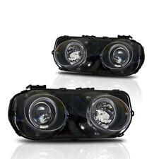 94-97 Acura Integra DC2 LS GS R JDM Dual Halo Projectors Black Head Lights Pair