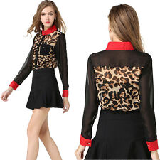 Sexy Women's Casual Chiffon Leopard Print Shirt Tops Slim Blouse T-Shirt New t-b