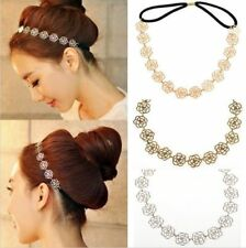 1PC Metal Chain Jewelry Hollow Rose Flower Elastic Hair Band Headband