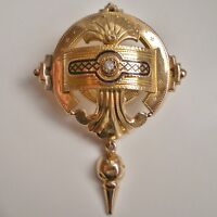 Antique Victorian18ct Gold & Enamel Etruscan Decorated Balloon Brooch c1878