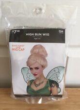 Tinker bell Wig Cosplay New Halloween Adult Women's Blonde High Bun Fairy
