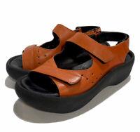 Wolky Jewel Orange Leather Platform Sandals Womens EU 36 US 5.5 Comfort Walking