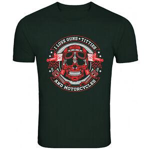 Guns Titties Motorcycles Skull T Shirt Funny T-Shirt Mens Womens Unisex Tee