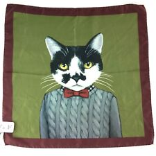 NWT - F&F made in Italy - bow tie Cat 100% silk square scarf - 20 x 20