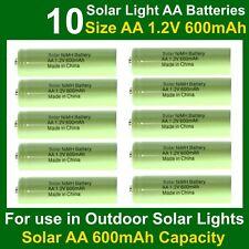 10 x AA 1.2V 600mAh NiMH Solar Light Batteries to replace 300mAh & 600mAh AA