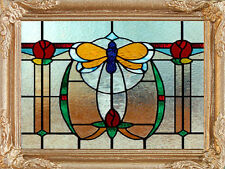 Art Deco STAINED GLASS Dollhouse Framed Picture - (Not Glass) - MADE IN AMERICA