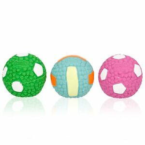 3PCS Dog Pet Ball Toy Latex Teeth Molar Chew Toothbrush Cleaning Voice